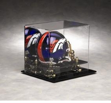 Mirrored Back Mini Helmet Display Case with Gold Risers