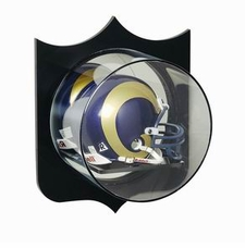 Mirrored Back Mini Helmet Display Case with Shield Outline (Wall Mountable)