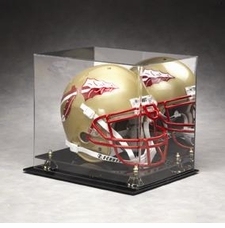 Mirrored Back Regulation Full Size Helmet Display Case with Gold Risers