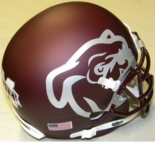 Mississippi State Bulldogs Maroon Silver Bulldog Schutt XP Authentic Mini Helmet