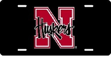 Nebraska Huskers Black Laser Cut License Plate