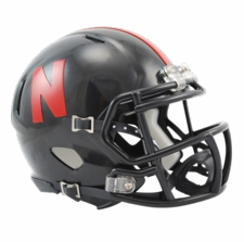 Nebraska Huskers Black Riddell Speed Mini Helmet