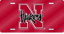 Nebraska Huskers Red Laser Cut License Plate