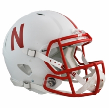 Nebraska Huskers White Riddell Revolution Speed Authentic Helmet