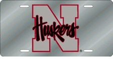 Nebraska Huskers Silver Laser Cut License Plate