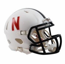Nebraska Huskers White w/ Black Stripe Riddell Speed Mini Helmet