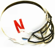 Nebraska Huskers White w/ Black Stripe Schutt XP Authentic Mini Helmet