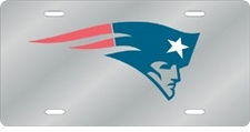 New England Patriots Laser Cut Silver License Plate