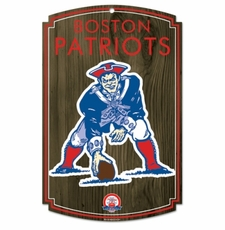 New England Patriots Wood Sign - Throwback