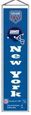 New York Giants Super Bowl 25 Wool 8x32 Heritage Banner