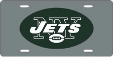 New York Jets Laser Cut Silver License Plate