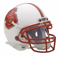 North Carolina State Wolfpack White Schutt Authentic Mini Helmet
