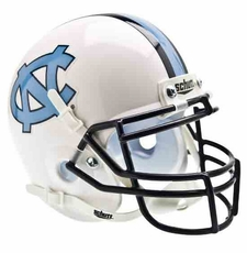 North Carolina Tar Heels White w/ Navy Mask Schutt Authentic Mini Helmet