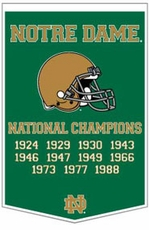 Notre Dame Fighting Irish 24 x 36 Football Dynasty Wool Banner (Green)