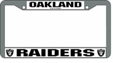 Oakland Raiders Chrome Silver License Plate Frame