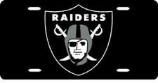 Oakland Raiders Laser Cut Black License Plate