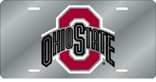 Ohio State Buckeyes Silver Laser Cut License Plate