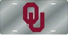 Oklahoma Sooners Silver Laser Cut License Plate