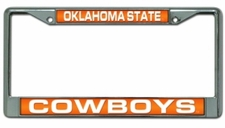 Oklahoma State Cowboys Laser Cut Chrome License Plate Frame