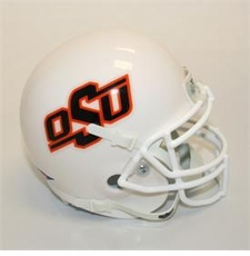 Oklahoma State Cowboys White w/ Black OSU Schutt Authentic Mini Helmet
