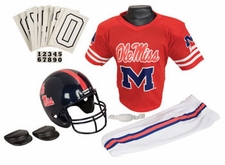 Ole Miss (Mississippi) Rebels Deluxe Youth / Kids Football Helmet Uniform Set