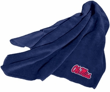Ole Miss (Mississippi) Rebels Fleece Throw (Blue)