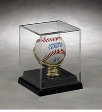 One Baseball Display Case with Gold Glove Holder