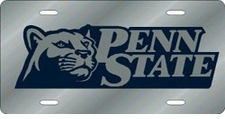 Penn State Nittany Lions Silver Laser Cut License Plate