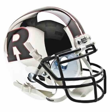 Rutgers Scarlet Knights Chrome w/ Black 'R' Schutt Authentic Mini Helmet