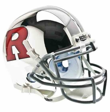 Rutgers Scarlet Knights Chrome w/ Red 'R', Silver Stripe Schutt Authentic Mini Helmet