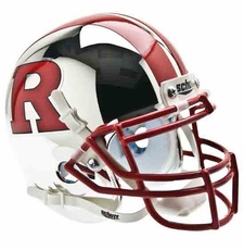 Rutgers Scarlet Knights Chrome w/ Red 'R', Stripe, Mask Schutt Authentic Mini Helmet