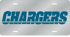 San Diego Chargers Laser Cut Silver License Plate