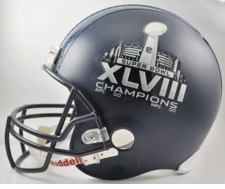 Seattle Seahawks Super Bowl 48 XLVIII Champions Riddel Full-Size Replica Helmet w/ HydroFX Decal
