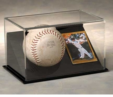 Single Softball with Trading Card Display Case with Black Base