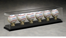 Six Baseball Acrylic Display Case with Gold Glove Holders