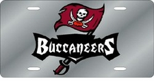 Tampa Bay Buccaneers Laser Cut Silver with Buccaneers License Plate
