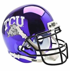 TCU Horned Frogs Chrome Purple Schutt Authentic Mini Helmet