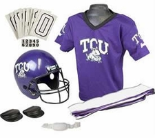 TCU Horned Frogs Deluxe Youth / Kids Football Helmet Uniform Set