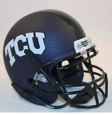 TCU Horned Frogs Purple Matte w/ Crosshatch Schutt Authentic Mini Helmet