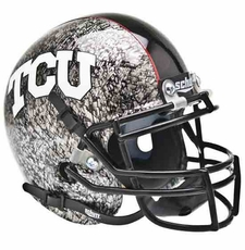 TCU Horned Frogs Silver Slate w/ Crosshatch Schutt Authentic Mini Helmet