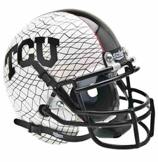 TCU Horned Frogs White Matte w/ Crosshatch Schutt Authentic Mini Helmet