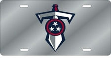 Tennessee Titans Laser Cut Silver Shield and Sword License Plate