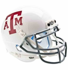 Texas A&M Aggies White w/ Gray Mask Schutt Authentic Mini Helmet