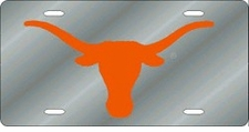 Texas Longhorns Silver Laser Cut License Plate
