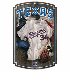 Texas Rangers Wood Sign w/ Throwback Jersey