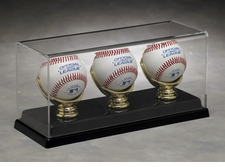 Three Baseball Acrylic Display Case with Gold Glove Holders