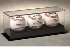 Three Baseball Display Case with Back Base