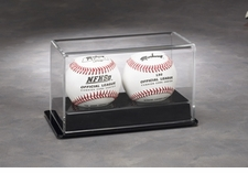 Two Baseball Display Case with Black Formed Base.