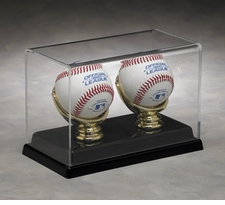 Two Baseball Display Case with Formed Black Base and Gold Glove Holders