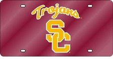 USC Trojans Red Laser Cut License Plate